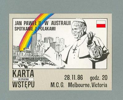Admission ticket, 1986 Papal Visit