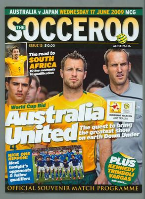 Programme, Australia v Japan FIFA World Cup Asian Qualifier - MCG, 17 Jun 2009