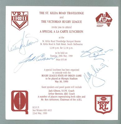 Menu, dinner for the first Rugby League State of Origin match held in Melbourne 1990