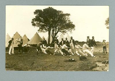 Postcard, image of tug-of-war at Life Saving & Physical Training School - Sorrento, 1913