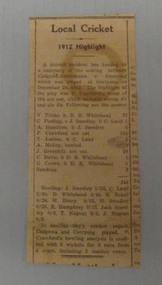 Newspaper clipping, details Corryong v Berringama cricket match - 28 Dec 1912