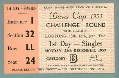 Admission ticket, Davis Cup Challenge Round - Kooyong, 28 Dec 1953