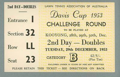 Admission ticket, Davis Cup Challenge Round - Kooyong, 29 Dec 1953