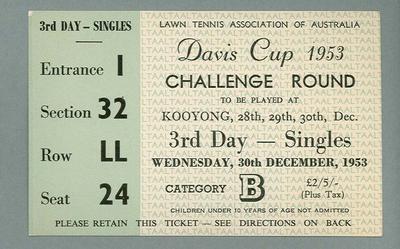 Admission ticket, Davis Cup Challenge Round - Kooyong, 30 Dec 1953
