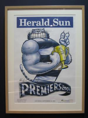 Poster with caricature by Mark Knight, Herald Sun 2009 AFL Premiers - Geelong Cats
