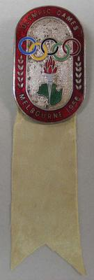 Competitor's badge worn by Vern Barberis, 1956 Melbourne Olympic Games