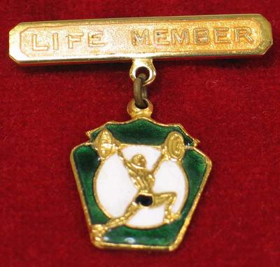 Australian Weightlifting Federation life membership badge, presented to Vern Barberis
