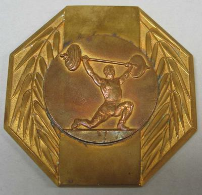 Medal presented to Vern Barberis, weightlifting competition between Australia and the United States - 1952
