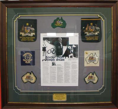 Montage of Australian team pockets and badges, worn by Vern Barberis