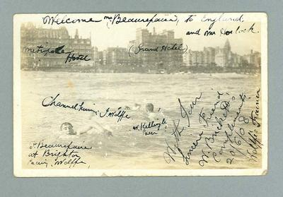 Postcard, image of three men swimming in the sea - 1908