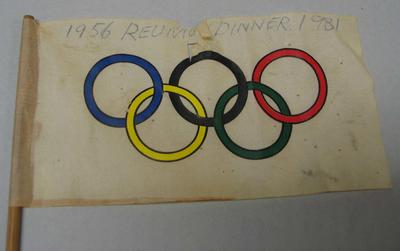Small Olympic flag, 1956 Olympic Games reunion dinner - 1981