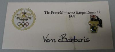 Badge and place card, The Prime Minister's Olympic Dinner II - 1988