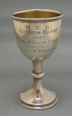 Trophy, small cup, inscribed M.C.C. Autumn Champ 1927Women's B Grade Couples, Runners Up, M and R Showers