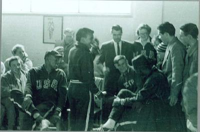 Reproduction photograph, 1956 Melbourne Olympic Games - athletes in Olympic Village; Photography; N2009.72.10