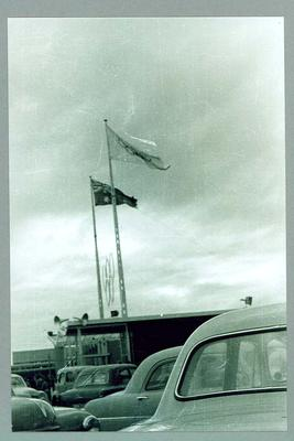 Reproduction photograph, 1956 Melbourne Olympic Games - flags at Olympic Village