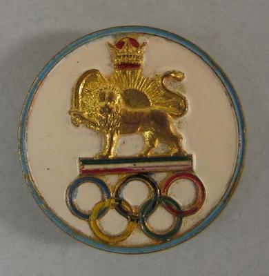 Badge, Iranian Olympic team circa 1950s; Civic mementoes; N2009.144.50