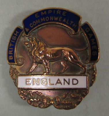 Badge, England - 1954 British Empire and Commonwealth Games; Civic mementoes; N2009.144.51