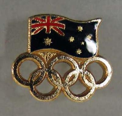 Lapel pin, Australian flag with Olympic rings