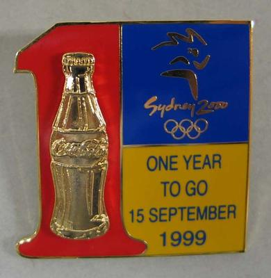 Badge, Sydney 2000 Olympic Games One Year To Go - Coca-Cola design