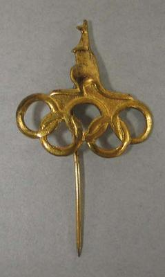 Stick pin, kangaroo with Olympic rings
