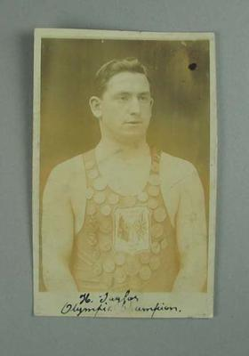 Postcard, depicts Henry Taylor wearing medals won at 1908 London Olympics; Documents and books; 1986.1304.178