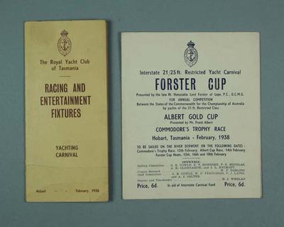 Programmes for Royal Yacht Club of Tasmania events, 1938