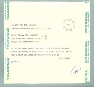 Telegram to Alan Connolly from Prime Minister R.G. Menzies regarding Prime Minister's XI.