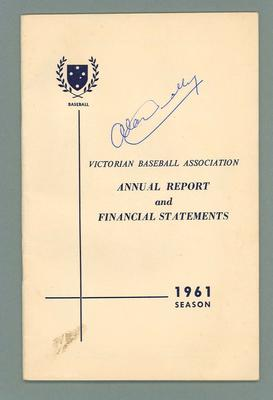 Victorian Baseball Association 1961 Annual Report autographed by Alan Connolly