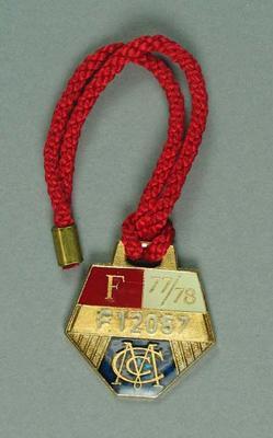 Melbourne Cricket Club membership badge, season 1977/78