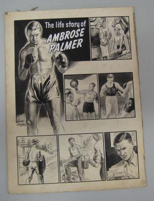 Black and white paintings of boxer Ambrose Palmer, by Harry Campbell