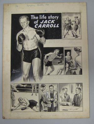 Black and white paintings of boxer Jack Carroll, by Harry Campbell