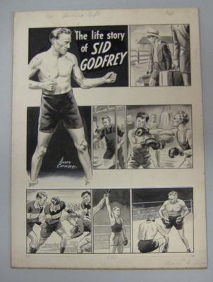Original black and white paintings by Harry Campbell of boxer Sid Godfrey