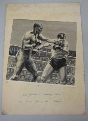 Original black and white paintings by Harry Campbell of boxers  Jack Johnson and Tommy Burns