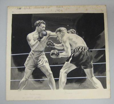 Original black and white paintings by Harry Campbell of boxers  Al Foreman and Jimmy Kelso