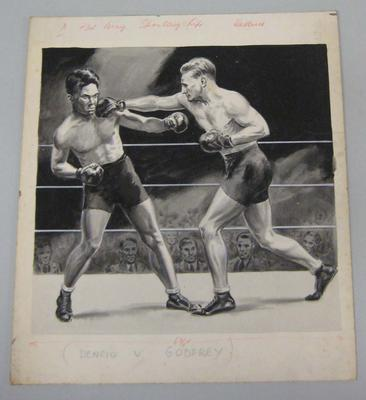 Original black and white paintings by Harry Campbell of boxers Cabanello Dencio and Sid Godfrey