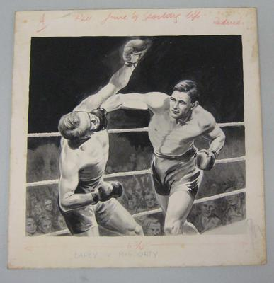 Original black and white paintings by Harry Campbell of boxers  Les Darcy and Eddie McGoorty