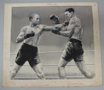Original black and white paintings by Harry Campbell of boxers  Fitzsimmons and Lang