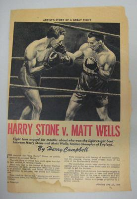 """""""Sporting Life"""" magazine, July 1949. Image by Harry Campbell, boxers  Harry Stone and Matt Wells"""