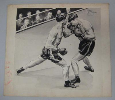 Original black and white paintings by Harry Campbell, depicting a boxing bout