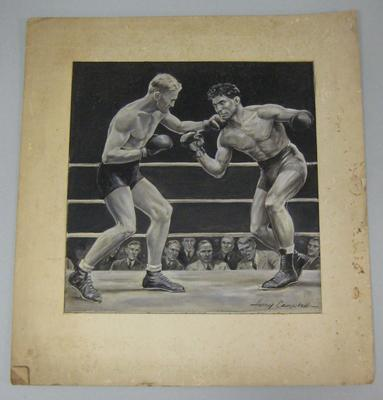 Original black and white paintings by Harry Campbell of boxers Jack Carroll and Bep Val Klaveran