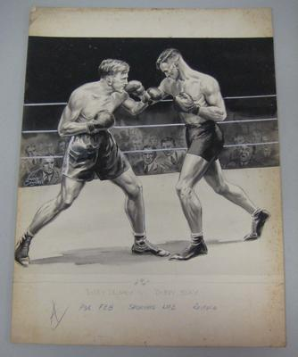 Original black and white paintings by Harry Campbell of boxers  Bobby Delaney and Bobby Blay
