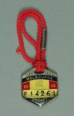 Melbourne Cricket Club membership badge, season 1985/86