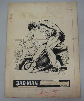 Original black and white paintings by Harry Campbell of a wrestling match 1950