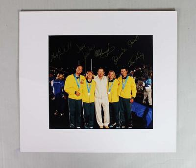 Autographed colour photograph of the Gold medal winning men's and women's 470 sailing teams, 2000 Olympic Games, Sydney