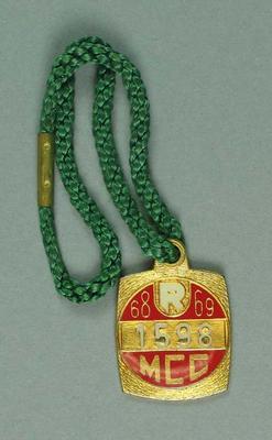 Melbourne Cricket Club restricted membership badge, season 1968/69