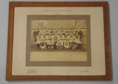 Framed photograph of the Schools' Association of Victoria 1897 Australian football Premiers, Cumloden High School, St Kilda.
