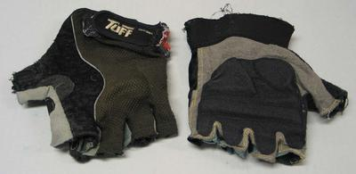 Two rock climbing gloves, used by Mick Parker
