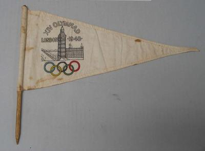 Triangular linen pennant on wood stick - 1948 London Olympic Games