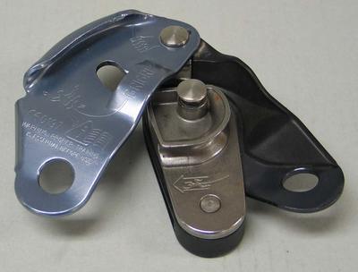 Rock climbing self braking belay device, used by Mick Parker
