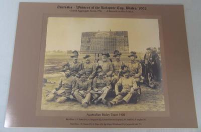 Sepia photograph, Australian Bisley Shooting Team - 1902 Kolapore Cup
